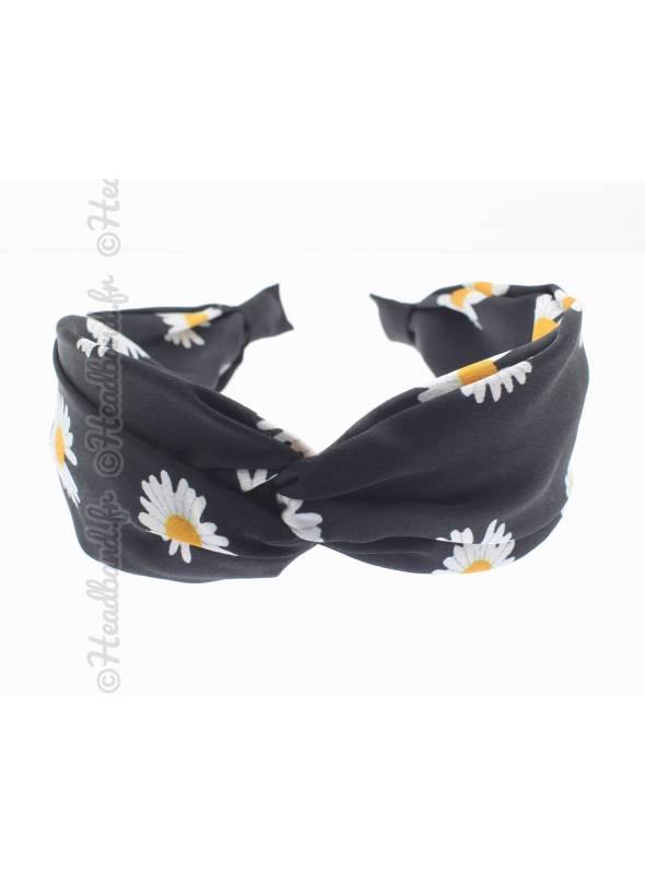 Serre-tête large pincé fleurs satin noir