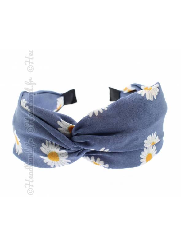Serre-tête large pincé fleurs satin bleu