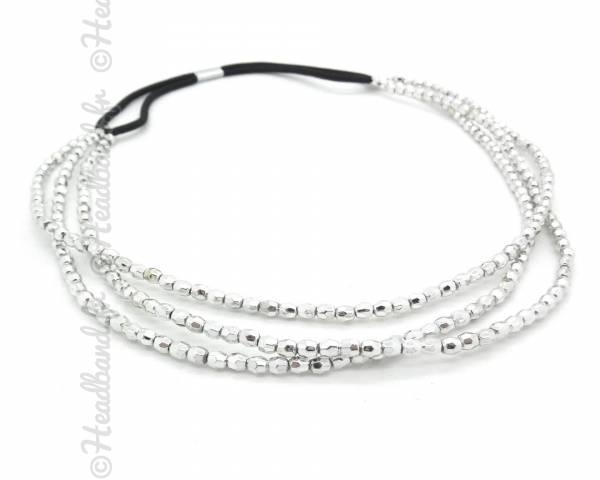 Headband 3 rangs perlé argenté