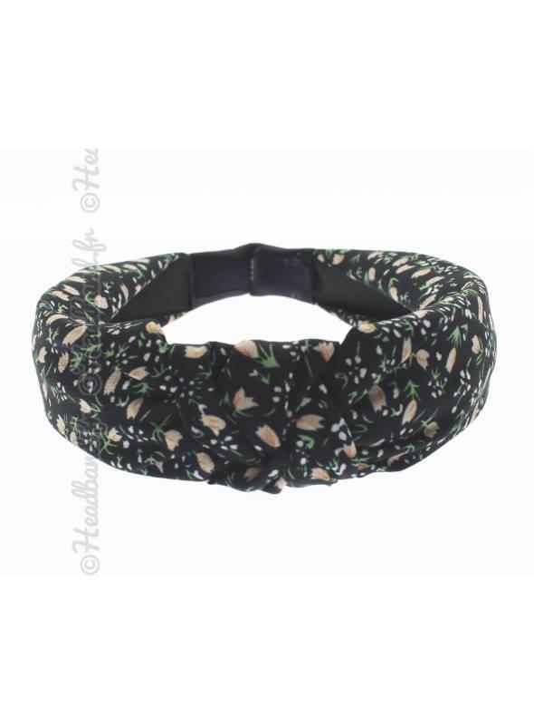 Serre-tête rétro turban fleurs noir