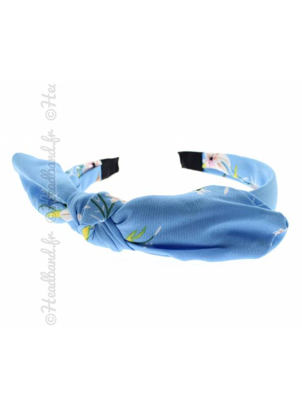Serre-tête noué fleuri bleu ciel