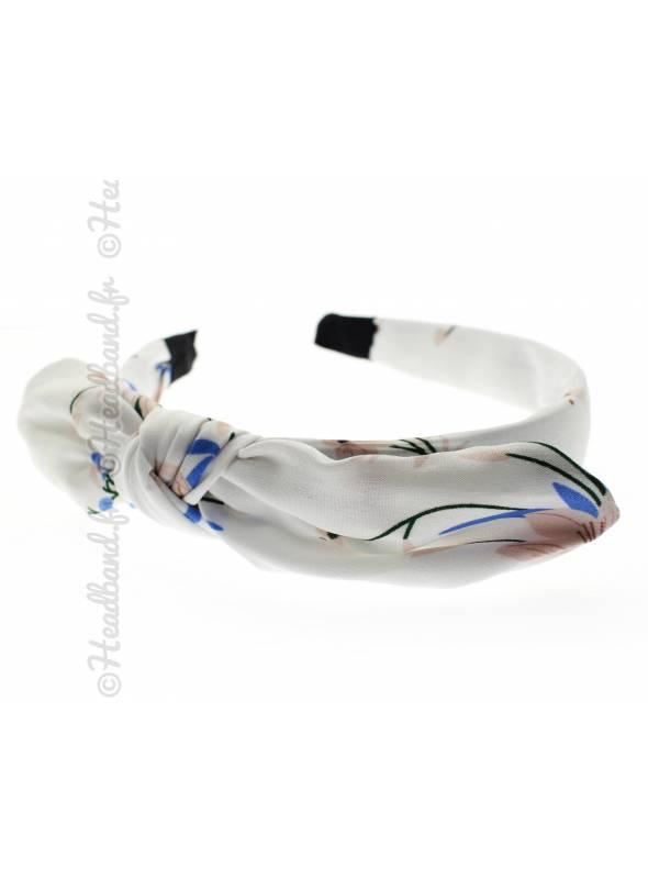 Serre-tête noeud fleuri romantique blanc