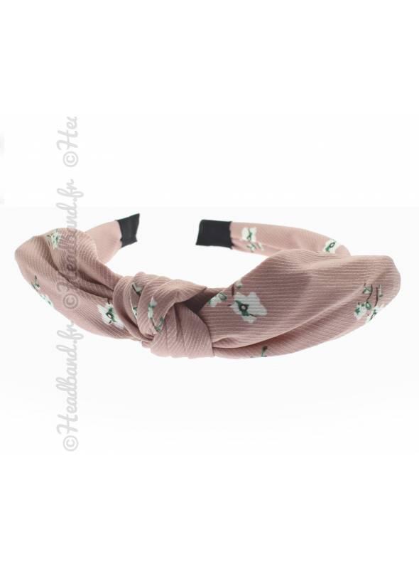 Serre-tête noeud rétro fleur rose
