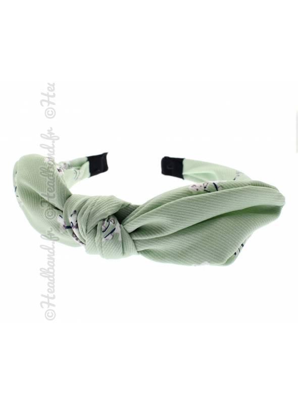 Serre-tête noeud rétro fleur vert d'eau