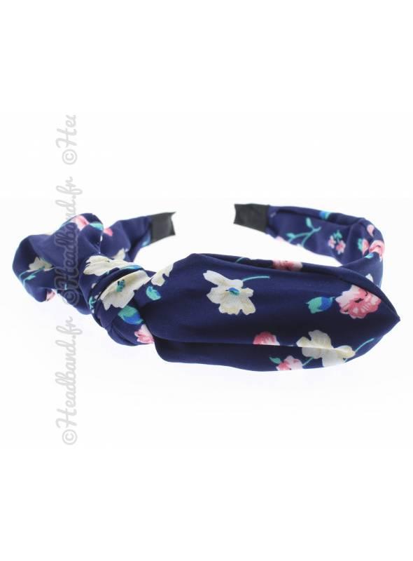 Serre-tête noeud fleuri romantique marine
