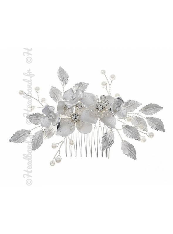 Peigne romantique perles et cristaux Sabrina