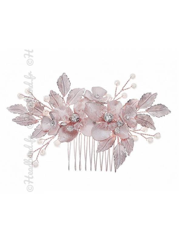 Peigne mariée fleurs rose poudré Siham
