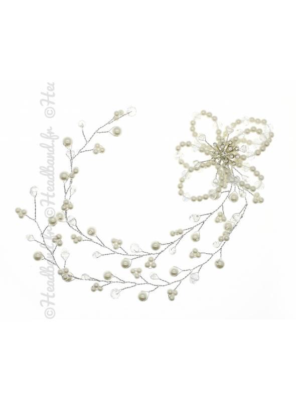 Coiffe perles fleurs mariée Dounia