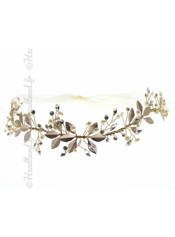 Tiare doré fleurs et perles nacrées Calyssie