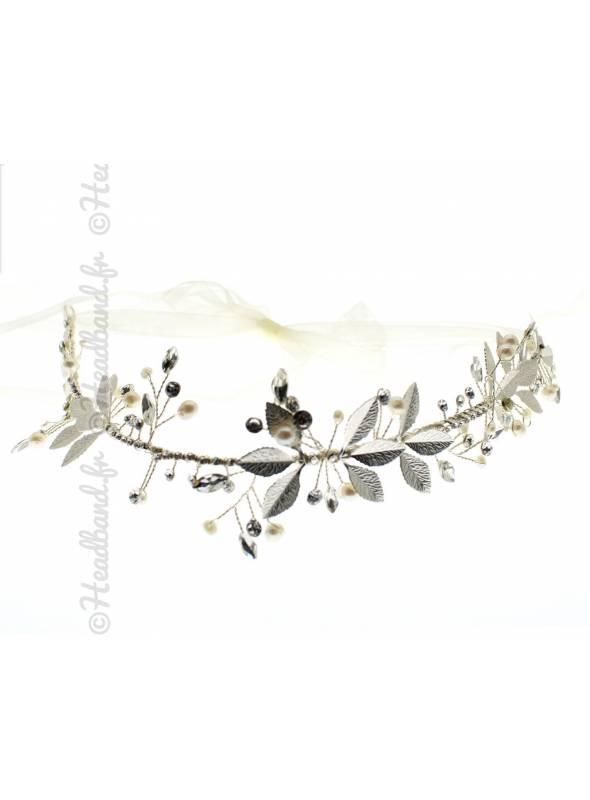Tiare mariage cristaux épi perles vanille