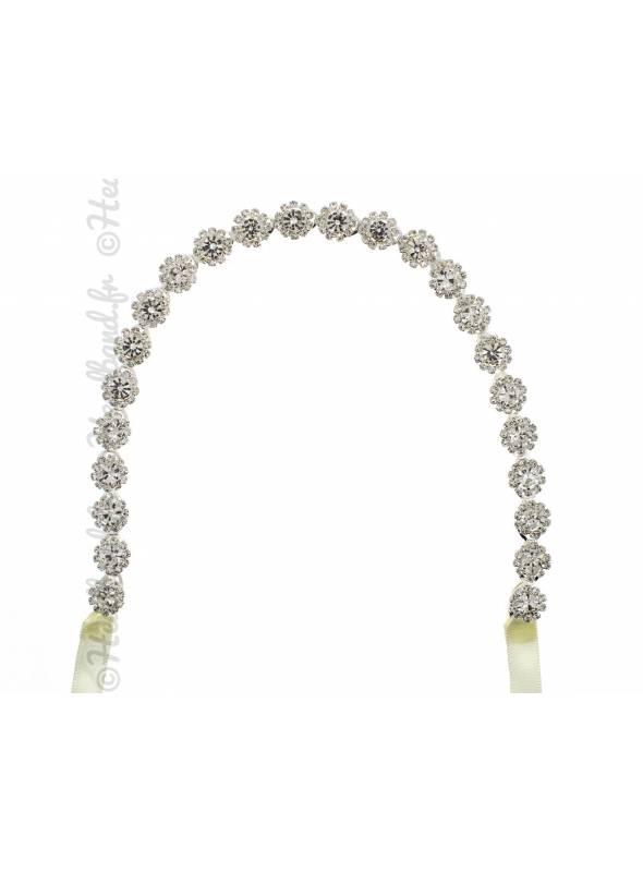 Bandeau mariage doré feuilles et perles Péryne