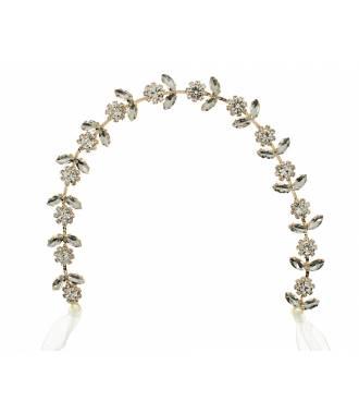 Tour de tête feuilles strass et cristaux Ombeline