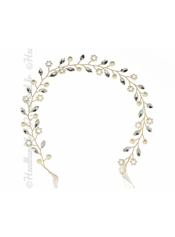 Tour de tête perles blanches Odéline