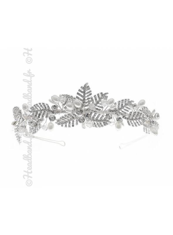 Serre-tête feuilles cristaux Eléonore