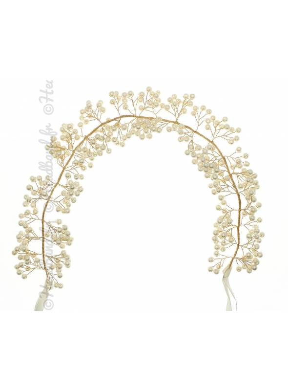 Maxi-headband en perles blanches Solène
