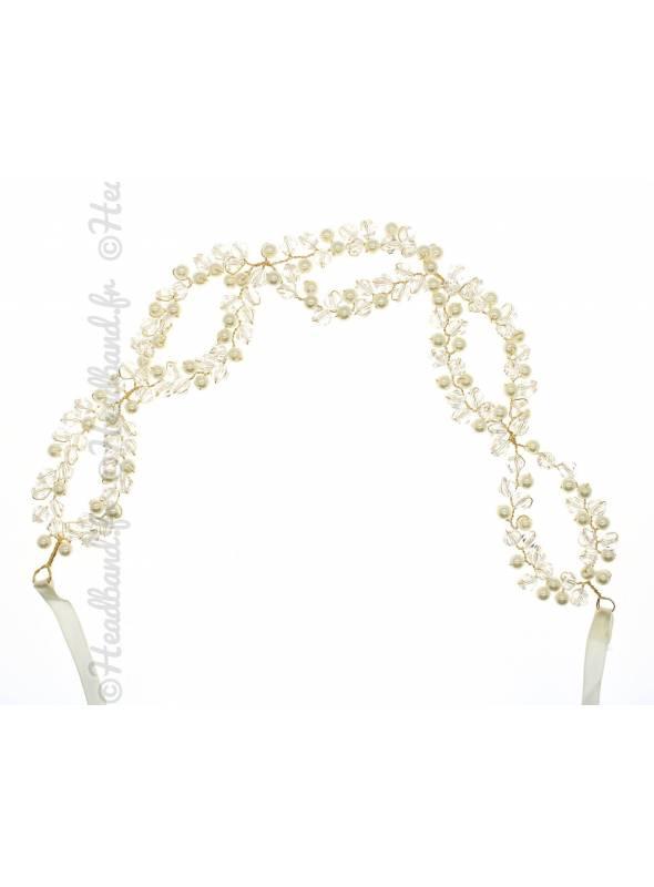 Bandeau en perles de rocaille avec ruban Sybille