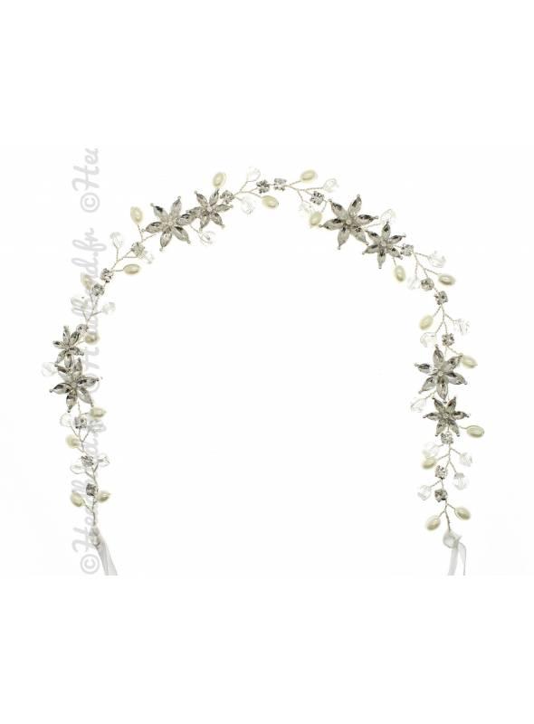 Bandeau à nouer fleurs cristaux Camilia