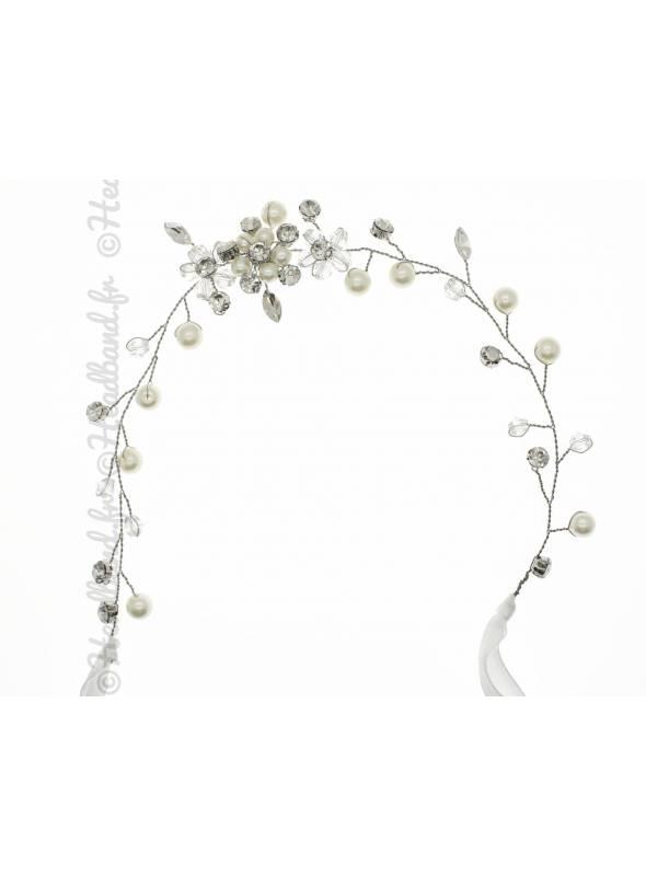 Headband avec feuilles doré et cristaux Nélia