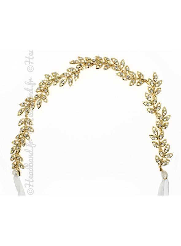 Headband avec feuilles doré et cristaux Lylia