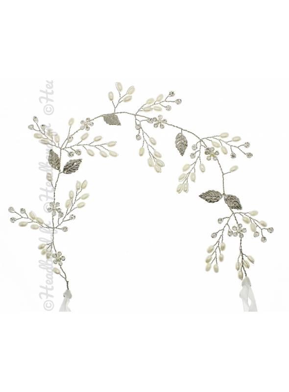 Bandeau perles et feuilles argenté Azélie