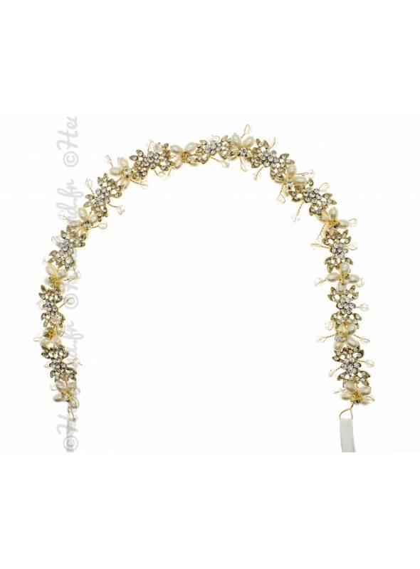 Tour de tête doré perles cristaux Maria