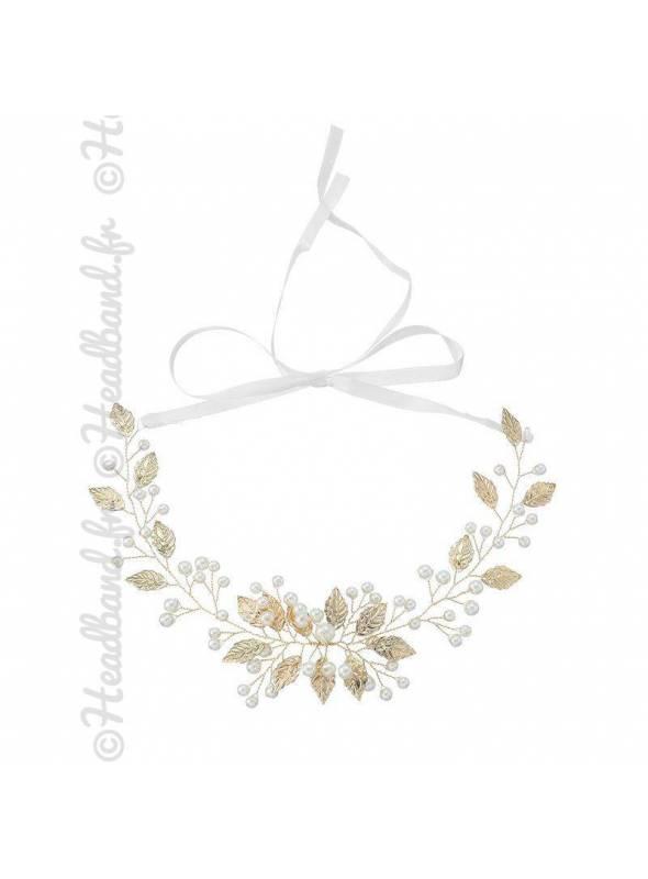 Headband mariée feuilles doré Maria
