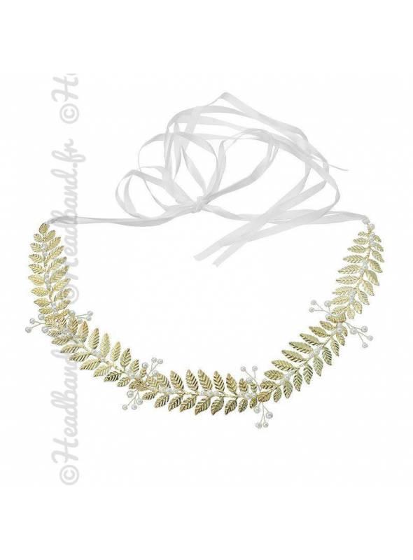 Headband vintage en métal doré avec ruban