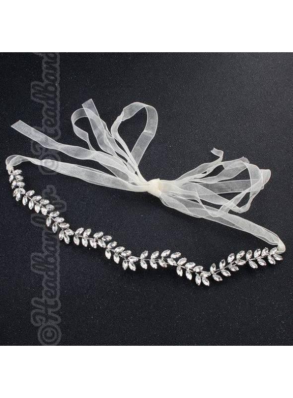 Headband fleurs et strass à nouer en métal argenté