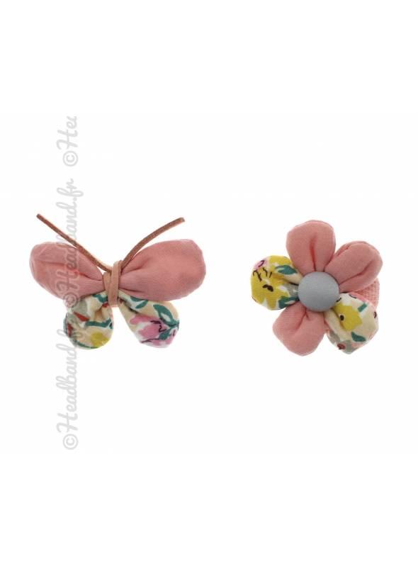 Lot de 2 pinces papillon et fleur rose