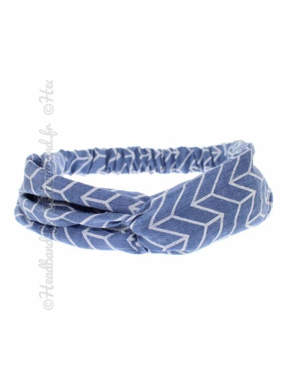 Turban cheveux chevrons bleu
