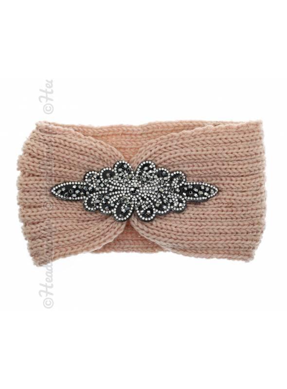 Headband rose en laine patch perles