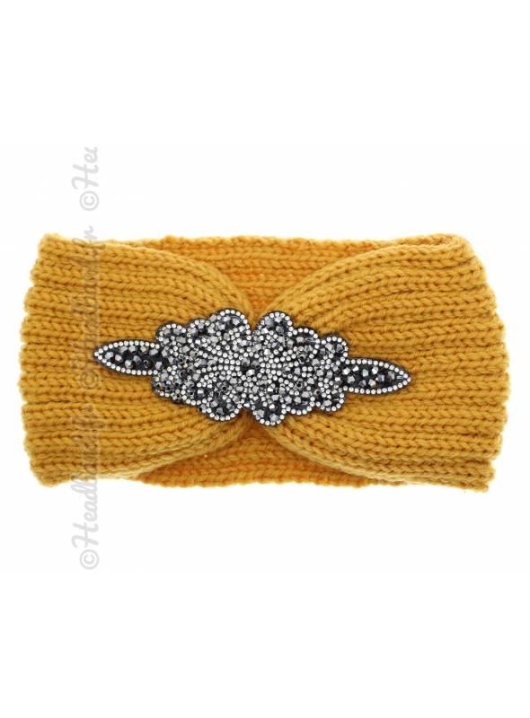 Headband jaune en laine patch perles