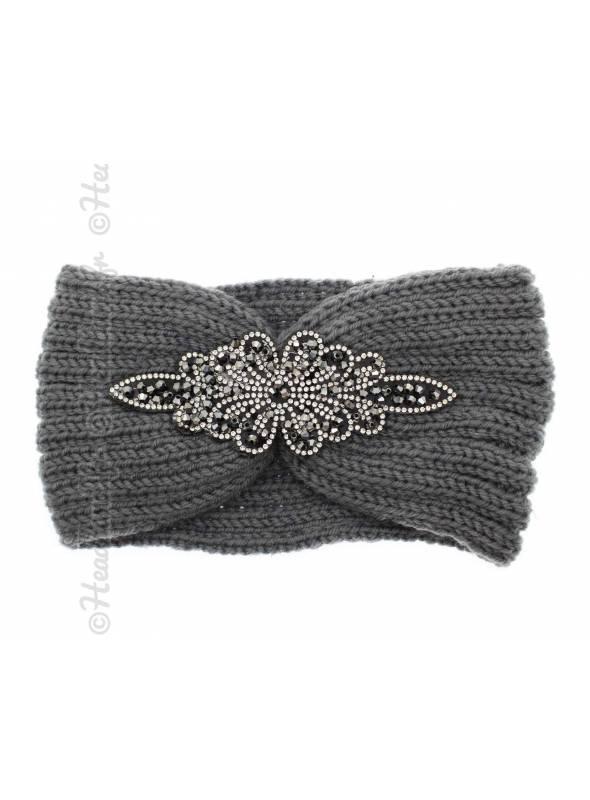 Headband gris en laine patch perles