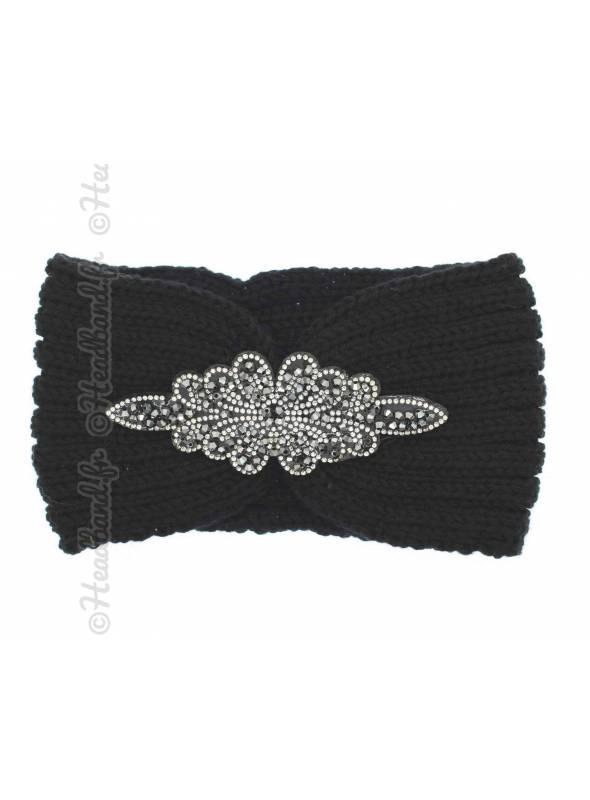 Headband noir en laine patch perles