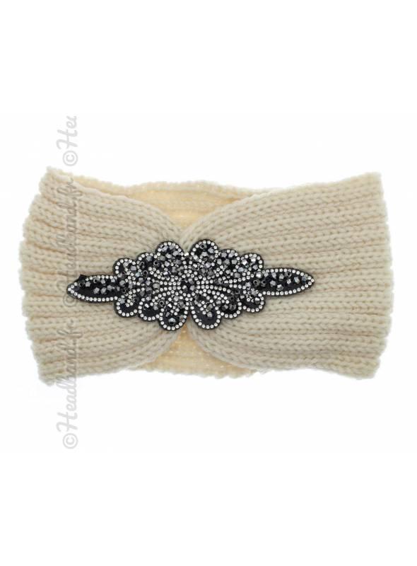 Headband beige en laine patch perles