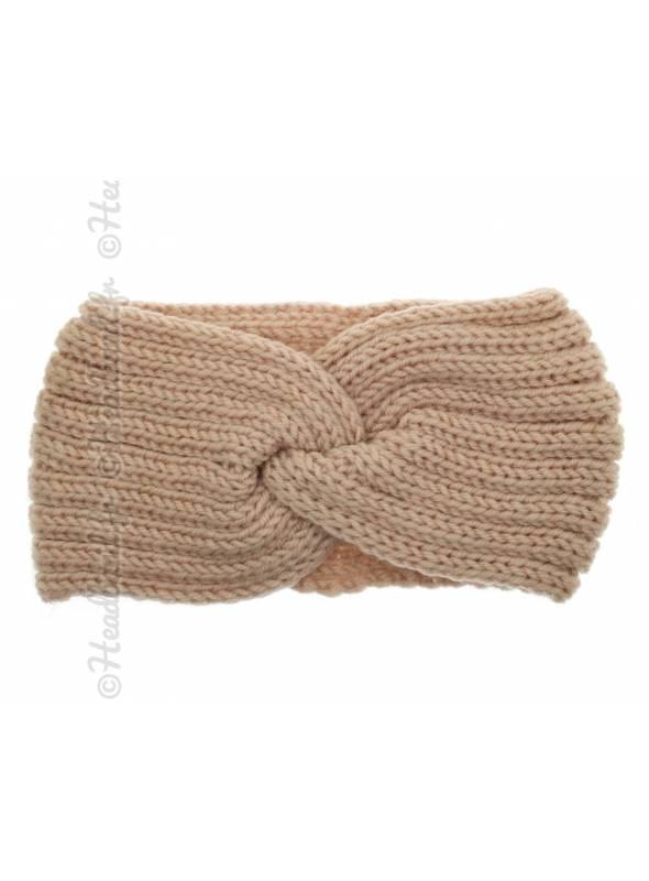 Headband tricot croisé maille rose