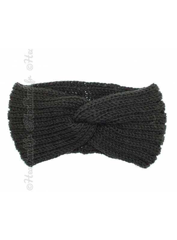 Headband tricot croisé maille noir