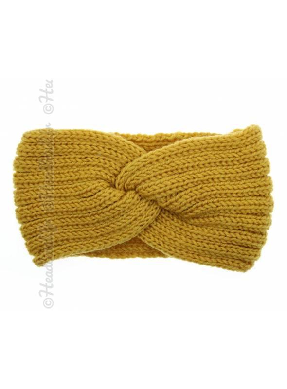 Headband tricot croisé maille jaune