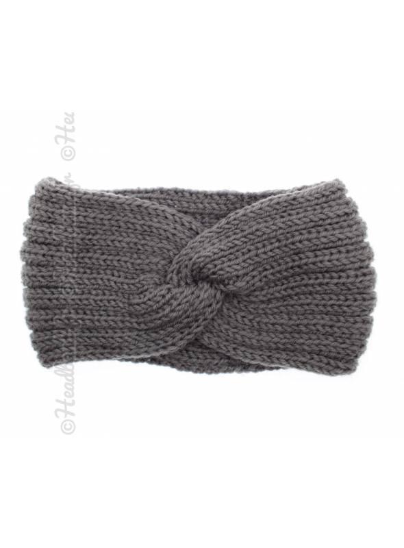 Headband tricot croisé maille gris