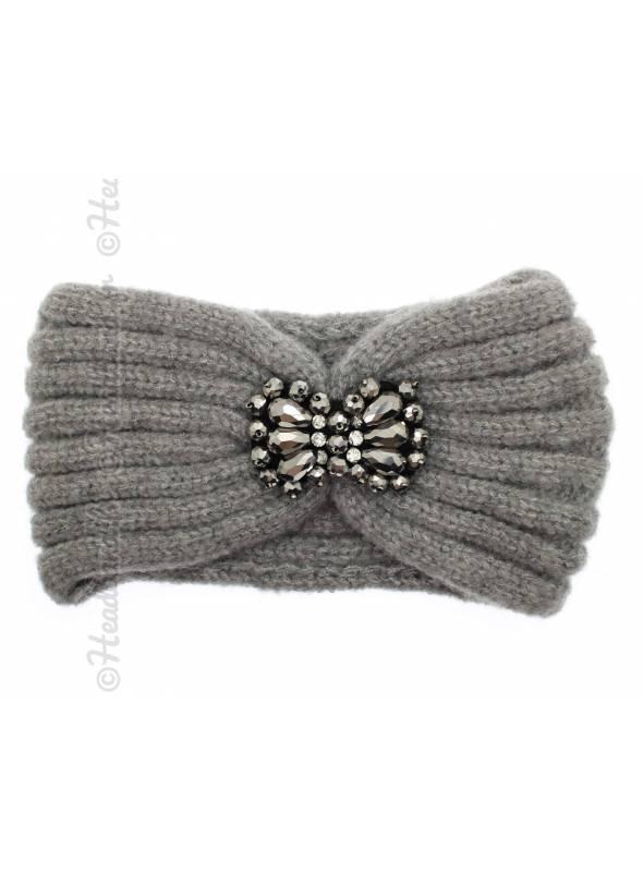 Bandeau tricot bijou gris