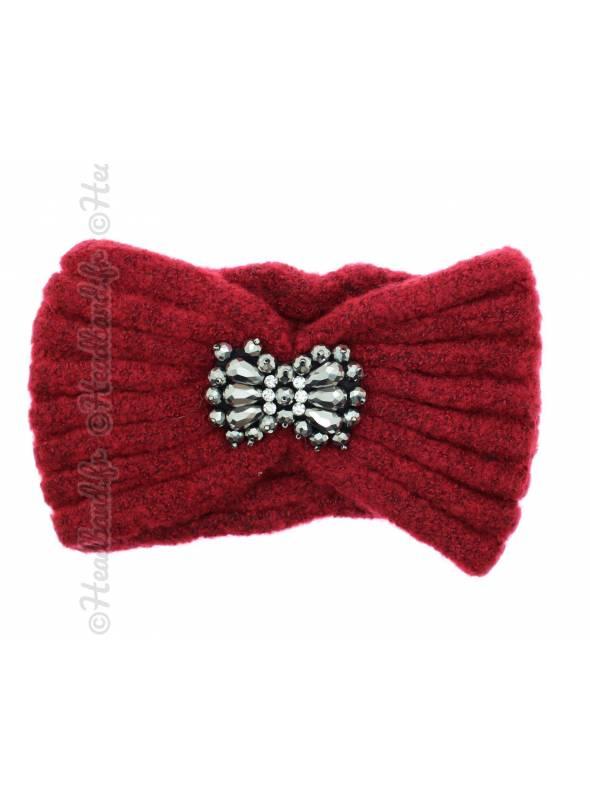 Bandeau tricot bijou rouge
