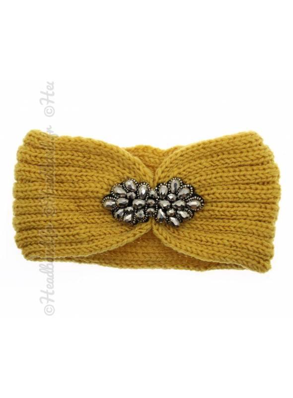 Headband tricot fleur perles jaune