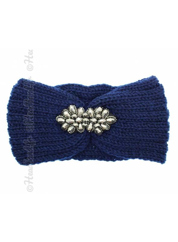 Headband tricot fleur perles bleu