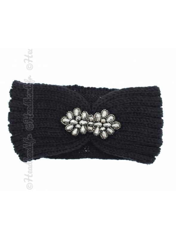 Headband tricot fleur perles noir
