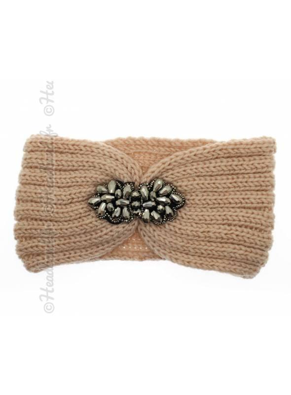 Headband tricot fleur perles rose