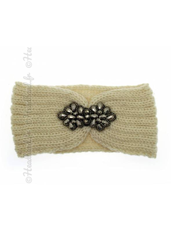 Headband tricot fleur perles beige