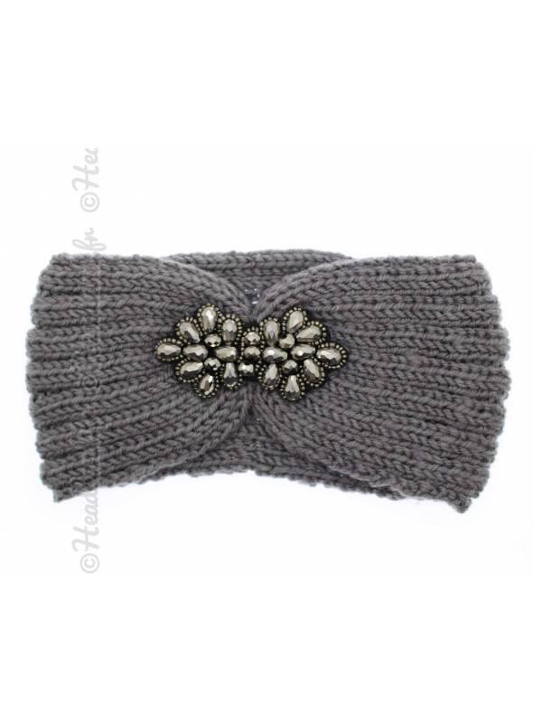 Headband tricot fleur perles gris
