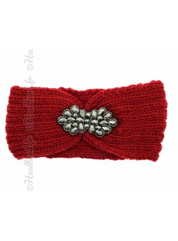 Headband tricot fleur perles rouge