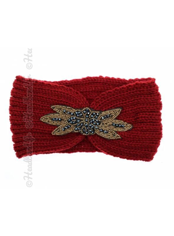 Headband tricot avec perles rouge