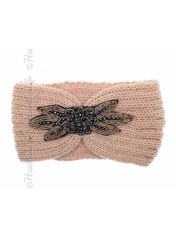 Headband tricot avec perles rose